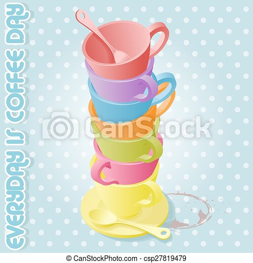 colorful coffee cups color of day in one week coffee cup
