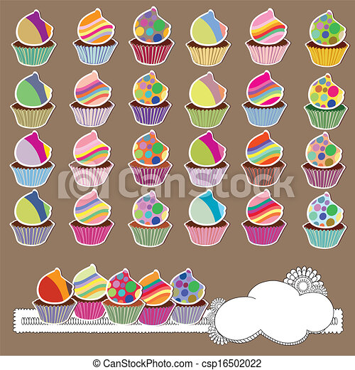 Colorful collection of cupcakes with cute patterns - csp16502022