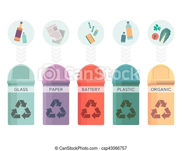 Colorful collection of garbage bins. Recycle containers set for sorted waste glass, paper, battery, plastic and organic. Five different trash can. Vector illustration - csp43066757