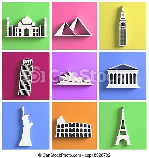 Colorful collection of worlds most famous landmarks - csp18320702