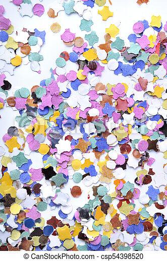 colorful confetti on white background - csp54398520