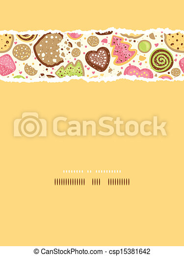 Colorful cookies vertical torn seamless pattern background - csp15381642