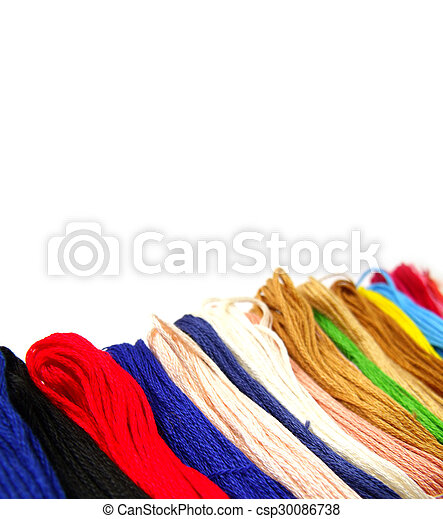 colorful cotton thread on white background - csp30086738