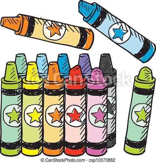 Colorful crayons sketch - csp10373882