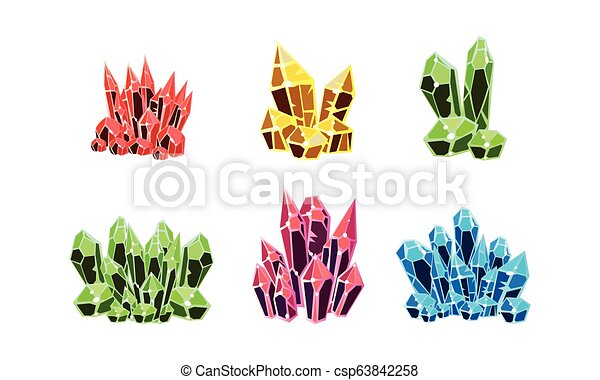 Colorful crystals set, mineral stone rocks vector Illustration on a white background - csp63842258