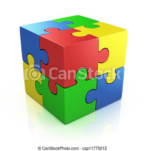 colorful cubic 3d puzzle - csp11775012