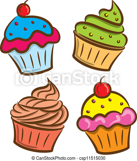 colorful cupcake icon in doodle style