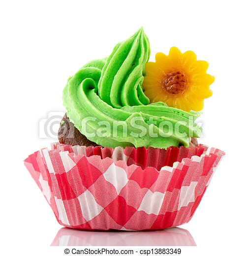 Colorful cupcake in green and red - csp13883349