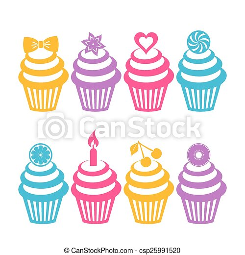 Colorful cupcake silhouettes - csp25991520