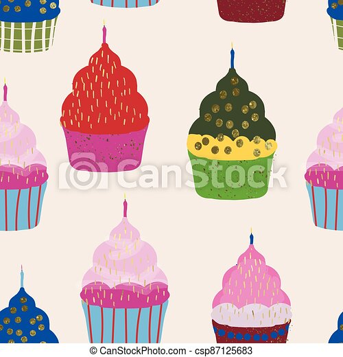 colorful cupcakes and candles background repeat - csp87125683
