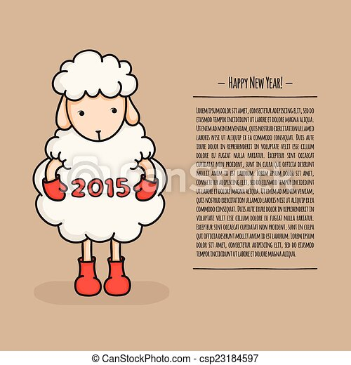 Colorful cute sheep in boots happy new year 2015 greeting card happy new year 2015 greeting card chinese m4hsunfo