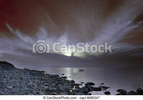 Colorful dawn over the sea. - csp14686347