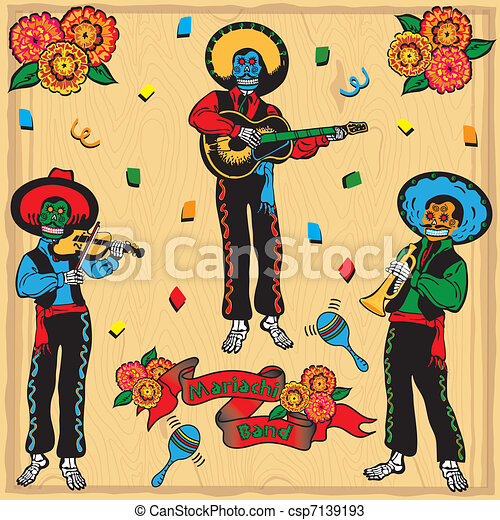 Colorful Day of the Dead Mariachi B - csp7139193