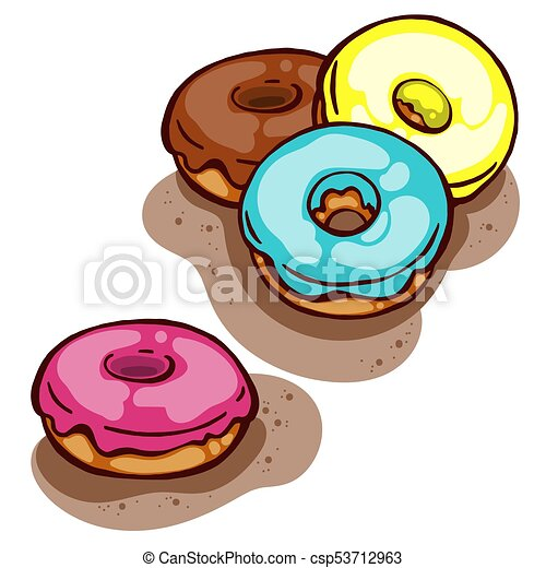 colorful delicious cute glazed donuts isolated on white clip art rh canstockphoto com
