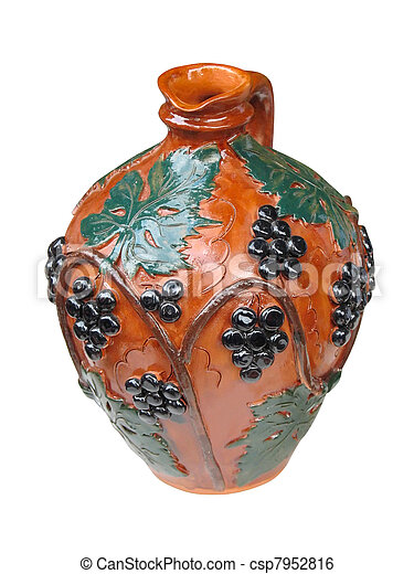Colorful designed clay vase isolated over white - csp7952816