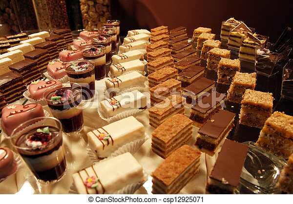 Colorful desserts and pastry served on a wedding party - csp12925071