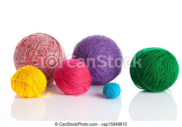 colorful different thread balls. wool knitting on white background - csp15949810