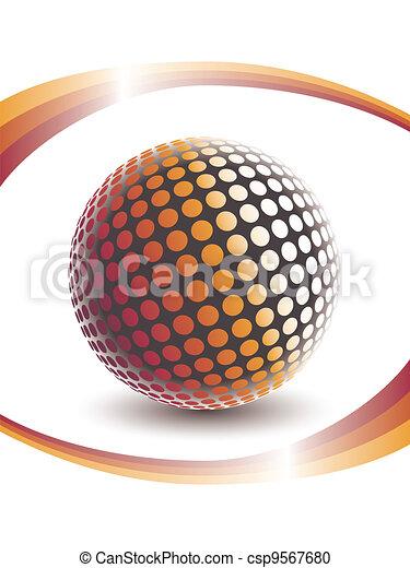 Colorful digital globe design. - csp9567680