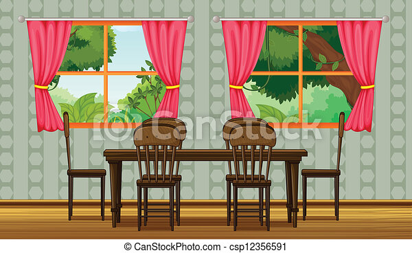 Illustration Of A Colorful Dining Room Eps Vectors