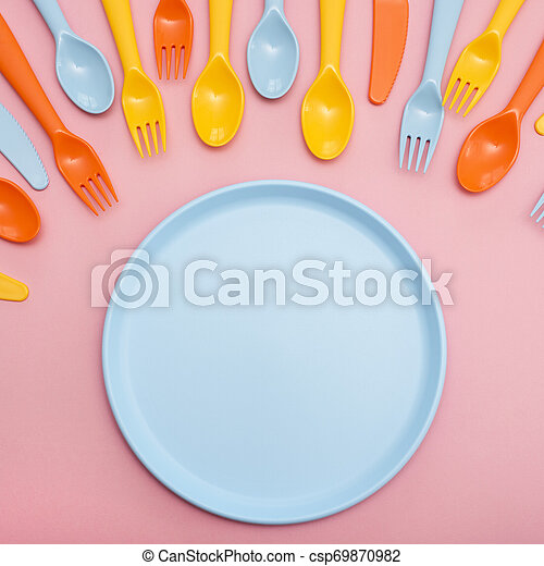 Colorful Dining Set On Pink Background Top View Canstock