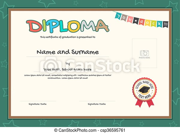 Colorful diploma certificate template for kids in vector clip art ...