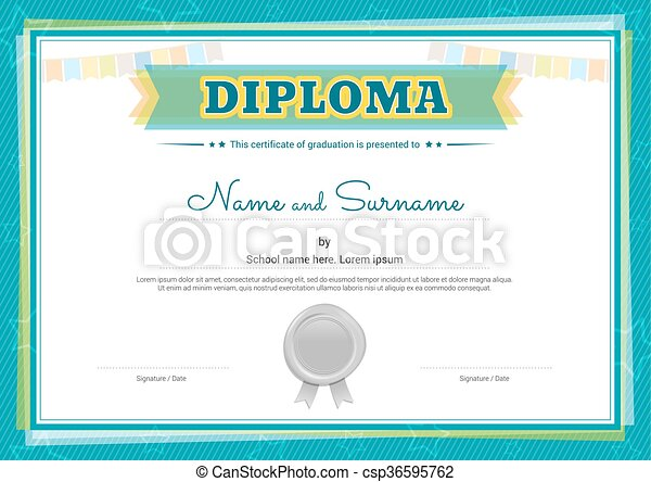 Colorful Diploma Certificate Template For Kids In Vector
