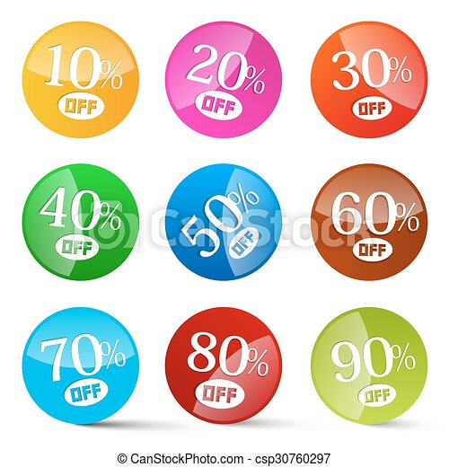 Colorful Discount Circles Set Labels Isolated on White - csp30760297
