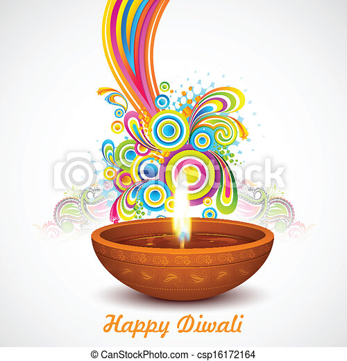 colorful diwali illustration of colorful swirls  ing