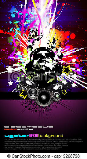 Colorful DJ Disco Flyer with Rainbow Colours - csp13268738