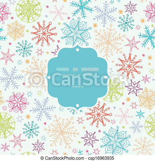 Colorful Doodle Snowflakes Frame Seamless Pattern Background - csp16963935