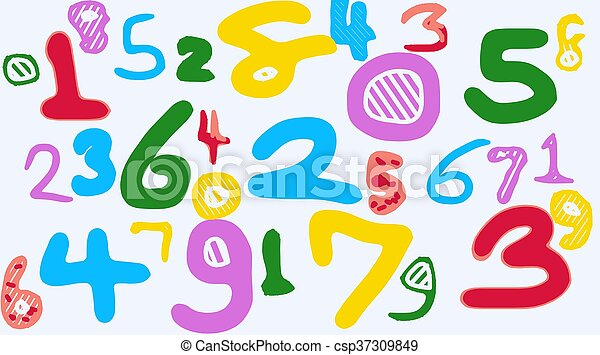 colorful drawing numbers 1 2 3 4 5 6 7 8 9 0 - csp37309849