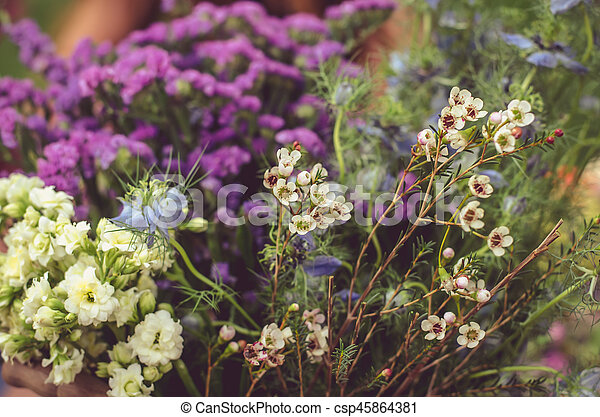 colorful dried flowers - csp45864381