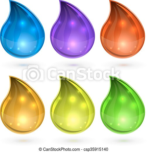 Colorful drops set vector template isolated on white background. - csp35915140
