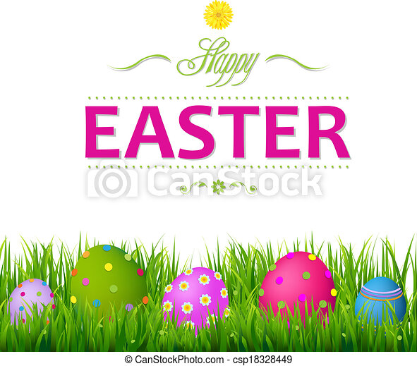 Colorful Easter Card - csp18328449