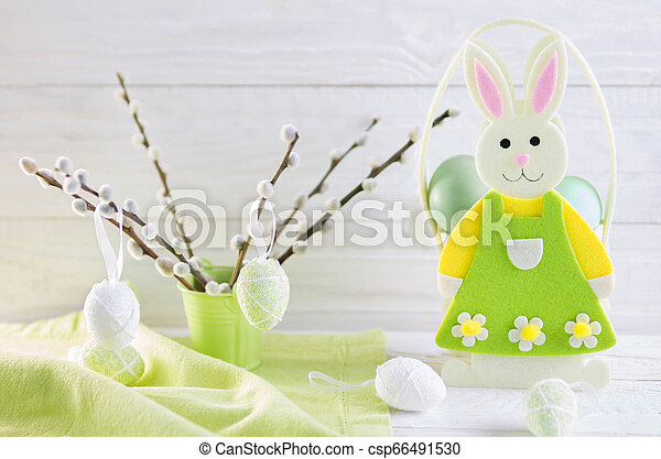 Colorful easter eggs and bunny - csp66491530