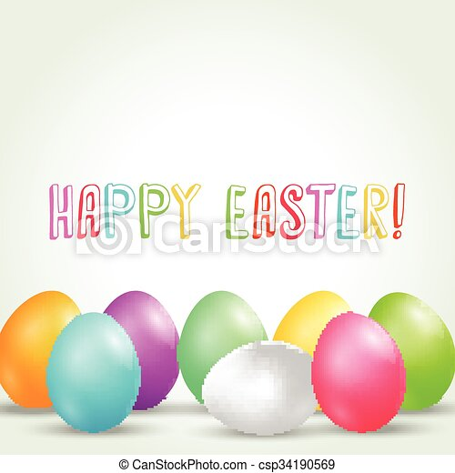 Colorful easter eggs background - csp34190569