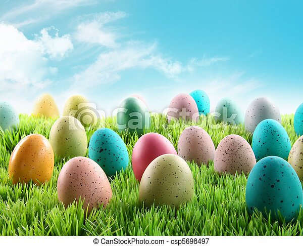 Colorful Easter eggs in a field of grass - csp5698497