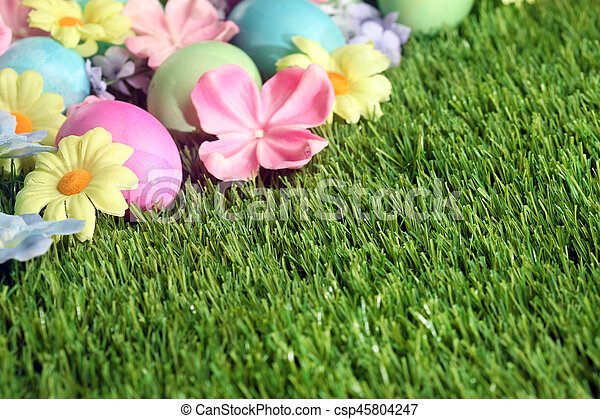 grass and flowers background. modren flowers colorful easter eggs on grass with flowers background  csp45804247 with grass and flowers background i