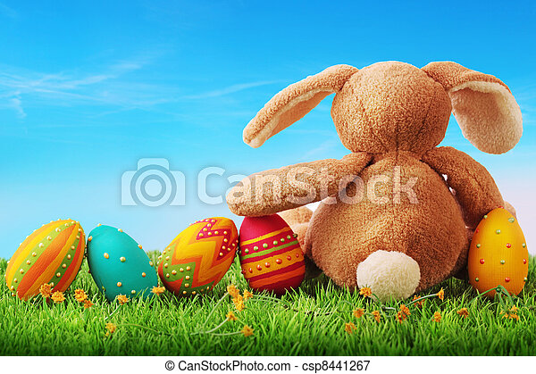 Colorful easter eggs - csp8441267