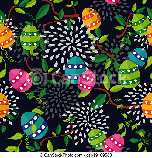 Colorful Easter pattern eggs - csp19169583