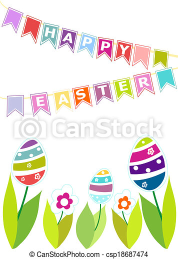 Colorful eggs.  Easter background. - csp18687474