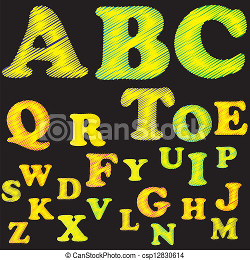 Colorful Embroidered Alphabet. - csp12830614