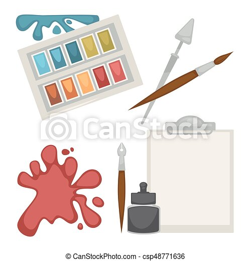 Colorful equipment set for painting isolated on white - csp48771636