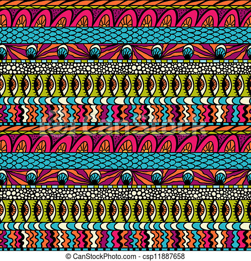 Colorful ethnicity ornament, vector seamless pattern. - csp11887658