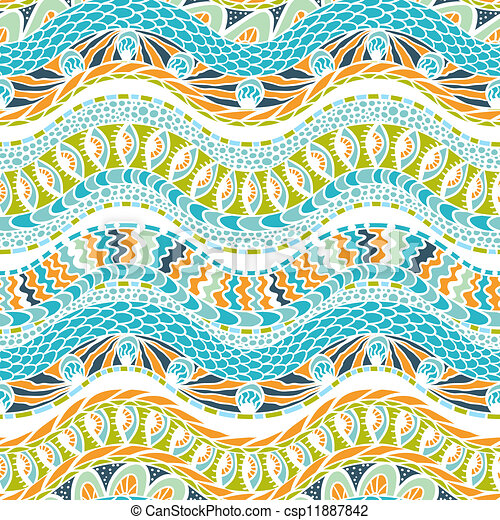 Colorful ethnicity ornament, vector seamless pattern. - csp11887842