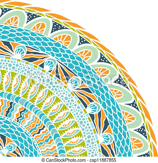 Colorful ethnicity round ornament, mosaic vector background. - csp11887855