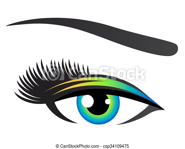 colorful eye with eyelashes - csp34109475