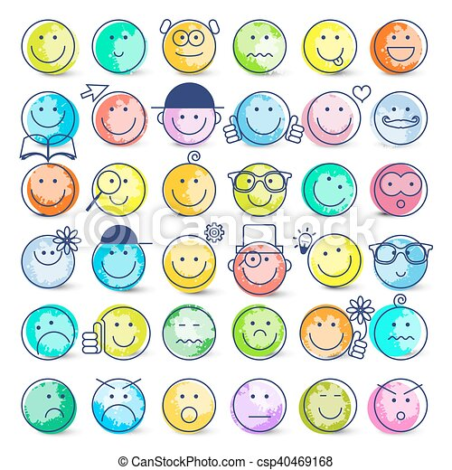 Colorful Faces Set. Vector Icons Isolated on White Background. - csp40469168