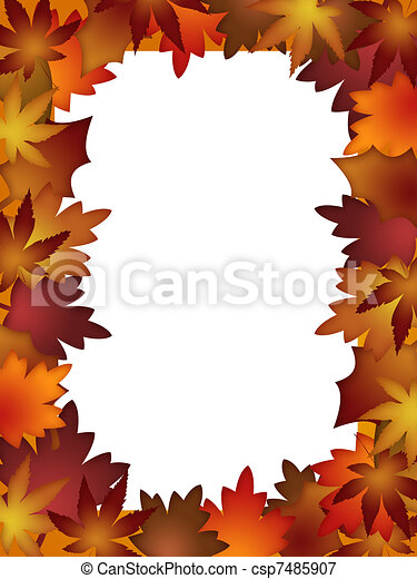 Colorful Fall Leaves Border over White - csp7485907