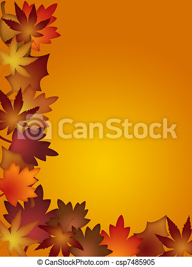 Colorful Fall Leaves Border - csp7485905